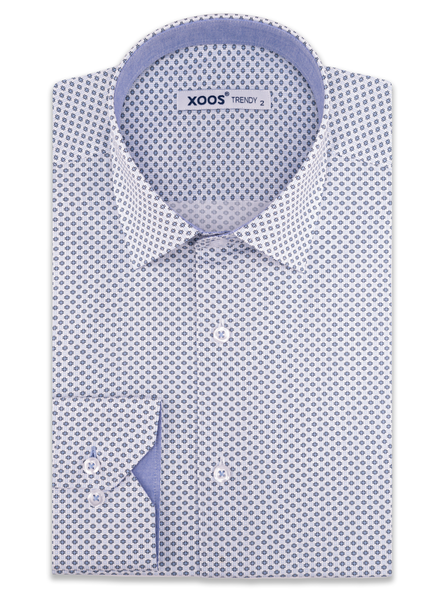 XOOS Men's white printed dress shirt chambray lining