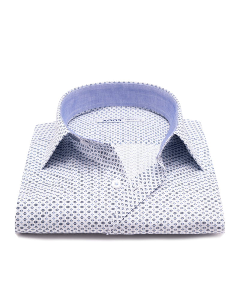 XOOS Men's white printed dress shirt chambray lining