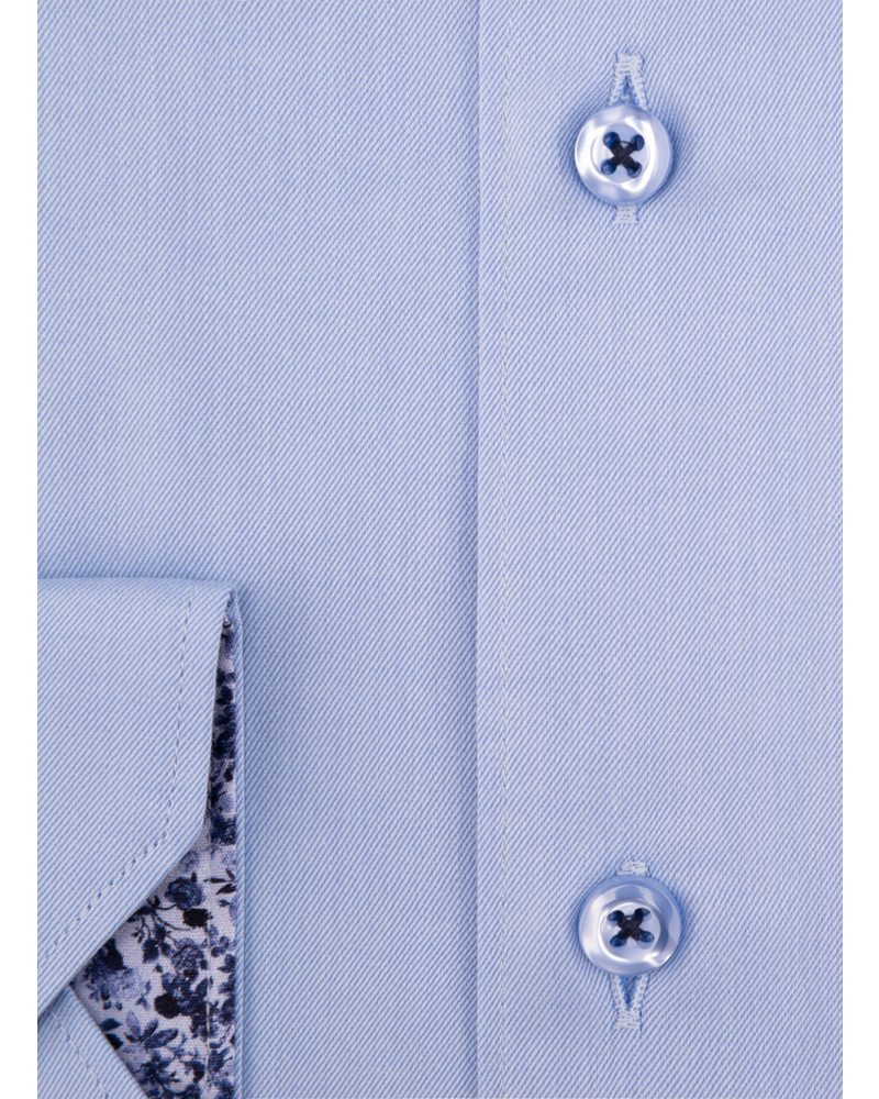 XOOS Men's blue Full Spread collar dress shirt floral lining (Double Twisted)