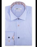 XOOS Men's blue dress shirt orange floral lining (Double Twisted)