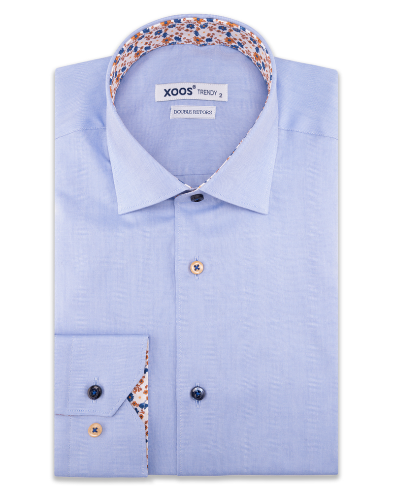 XOOS Men's blue dress shirt orange floral lining (Double Twisted)