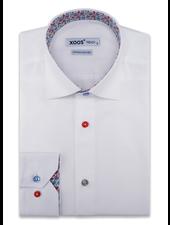 XOOS Chemise homme blanche doublure florale rouges boutons colorés (Double Retors)