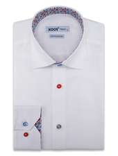 XOOS Men's white dress shirt red floral lining and coloured buttons (Double Twisted)