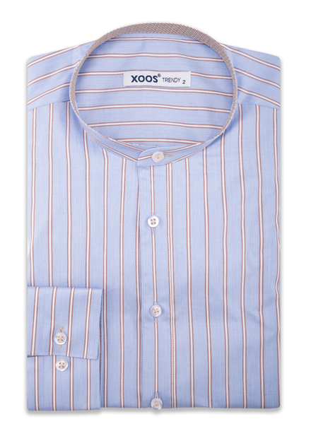 XOOS Men's officer collar blue striped shirt