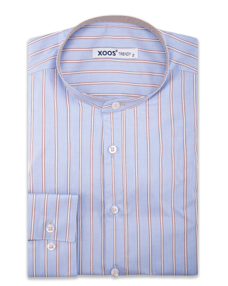 XOOS Men's officer collar blue striped shirt