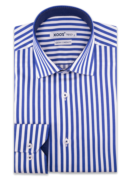 XOOS Men's blue striped dress shirt navy polka dot lining
