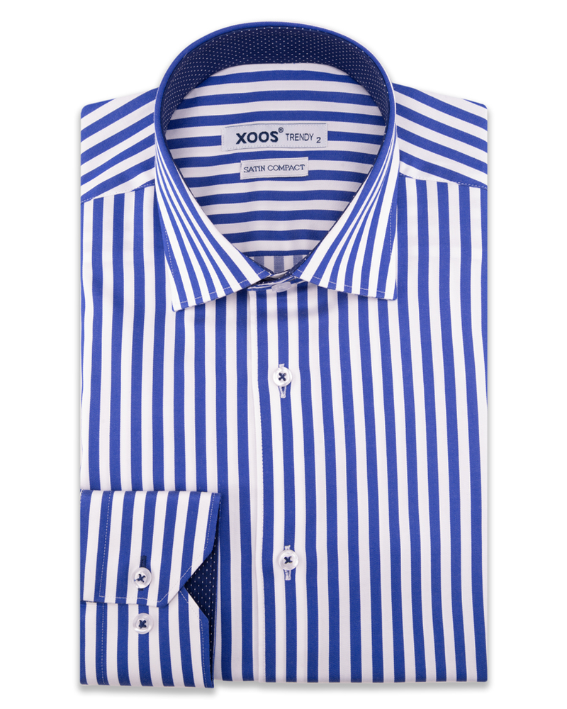 XOOS Men's blue striped dress shirt navy polka dot lining