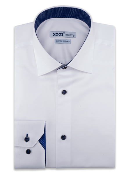 XOOS Men's white dress shirt with navy buttons and polka dots lining (Double Twisted)