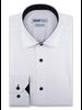 XOOS Chemise homme blanche boutons et doublure à micro pois noirs (Double Retors)