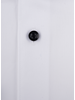 XOOS Men's white dress shirt with black buttons and polka dots lining (Double Twisted)
