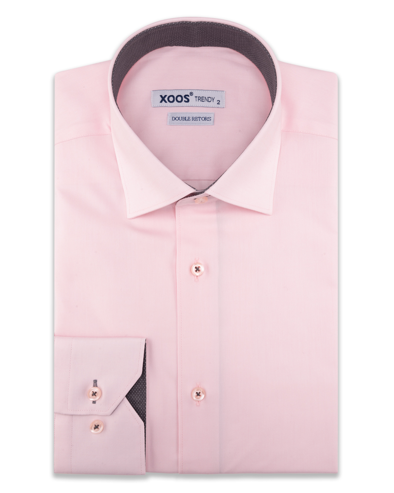XOOS Men's light pink dress shirt and gray polka dots lining (Double Twisted)