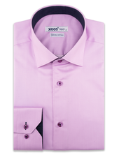XOOS Men's pink dress shirt and navy polka dots lining (Double Twisted)