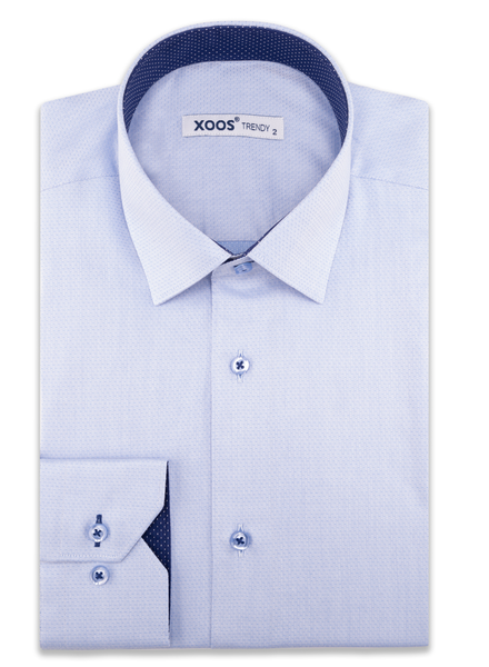 XOOS Men's blue fine pattern dress shirt and navy polka dots lining