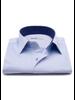 XOOS Men's blue fine pattern dress shirt and navy polka dots lining