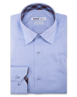 XOOS Men's blue dress shirt and brown checks lining (Double Twisted)