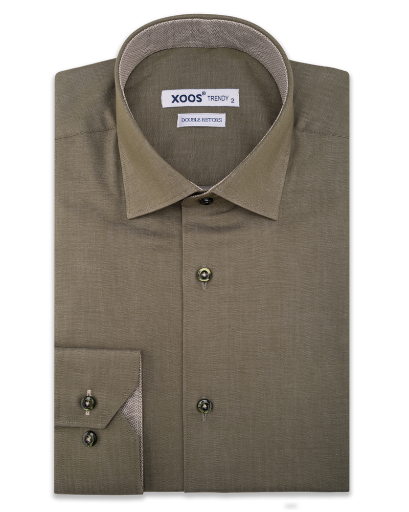 XOOS Men's Olive green dress shirt and printed lining (Double Twisted)