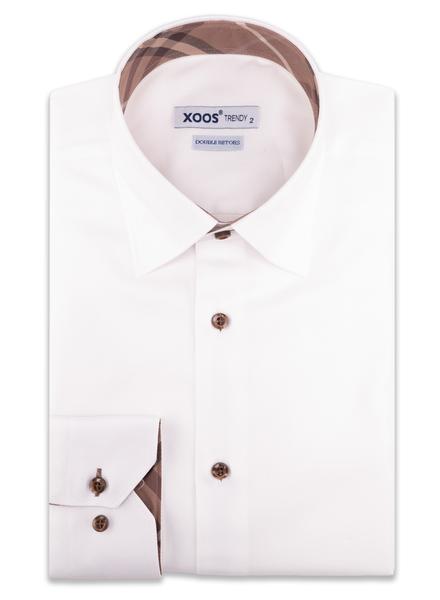 XOOS Chemise homme en Twill blanc doublure tartan brun (Double Retors)