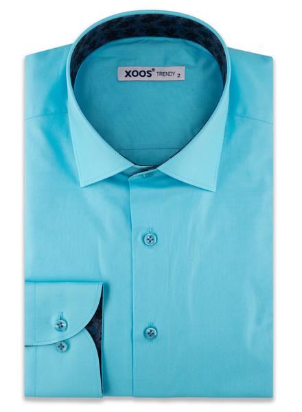 XOOS Men's Turquoise dress shirt navy jacquard lining (Organic cotton)