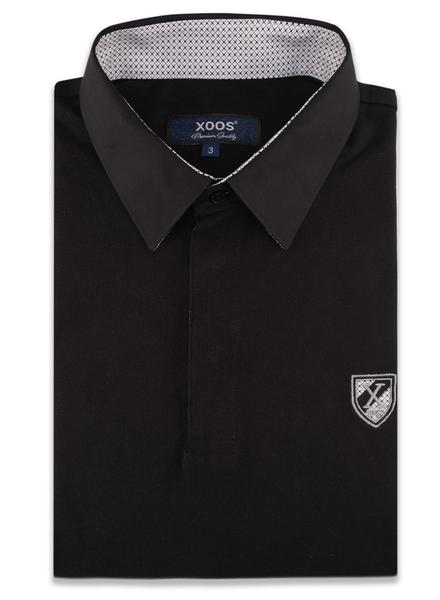 XOOS Black short sleeve polo shirt for men printed lining