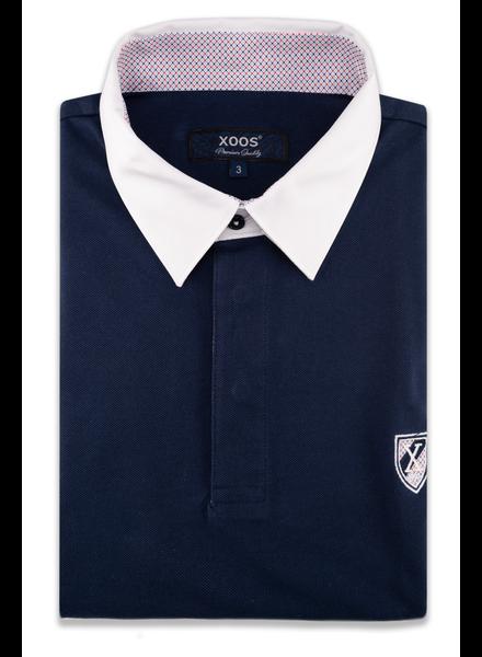 XOOS Polo manches courtes bleu marine col blanc doublure à motifs orange
