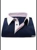 XOOS Navy blue short sleeve polo shirt for men orange printed lining