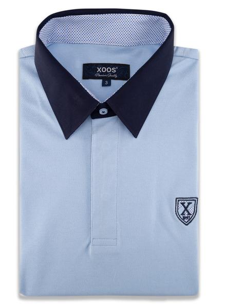 XOOS Polo manches courtes bleu ciel col marine et doublure à motifs bleus