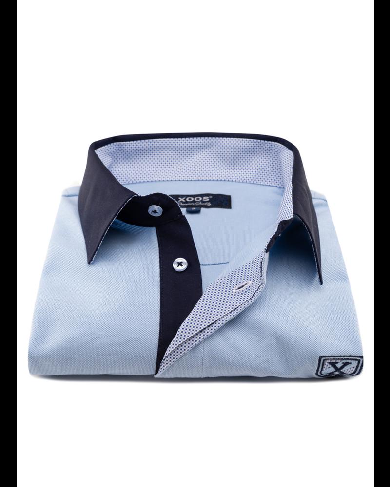 XOOS Light blue short sleeve polo shirt for men orange printed lining