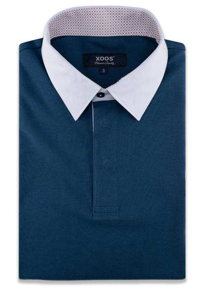 XOOS Polo manches courtes bleu canard doublure à motifs orange col blanc