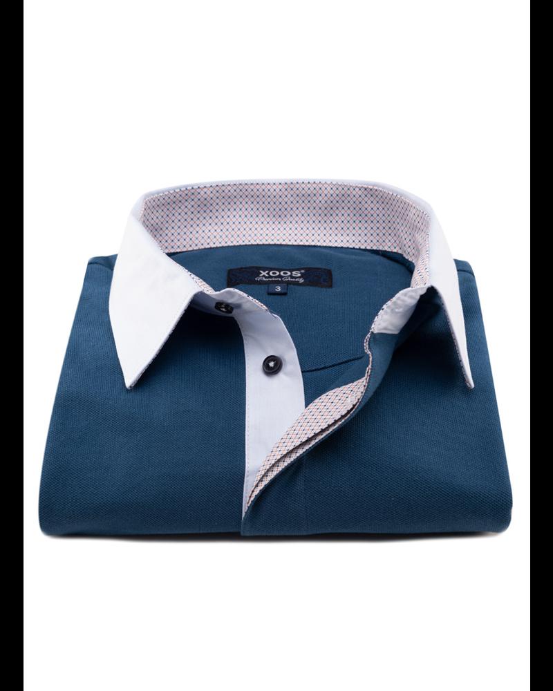 XOOS Green duck short sleeve polo shirt for men orange printed lining