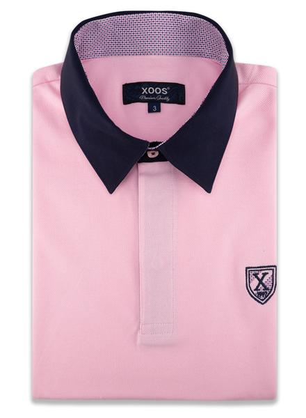 XOOS Polo manches courtes rose ciel col bleu marine