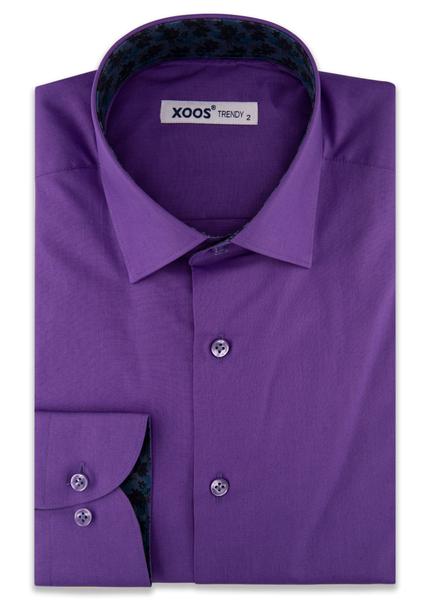 XOOS Men's Purple dress shirt navy jacquard lining (Organic cotton)