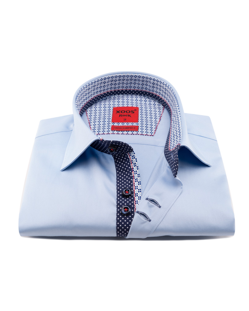 XOOS Men's blue double chest buttons dress shirt with navy polka dots lining