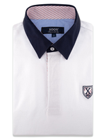 XOOS Polo manches courtes blanc col navy doublure imprimé rouge