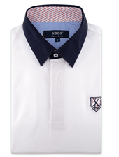 XOOS White short sleeve polo shirt for men - Red printed lining