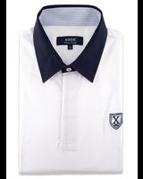 XOOS Polo manches courtes blanc col bleu marine doublure à motifs ciel
