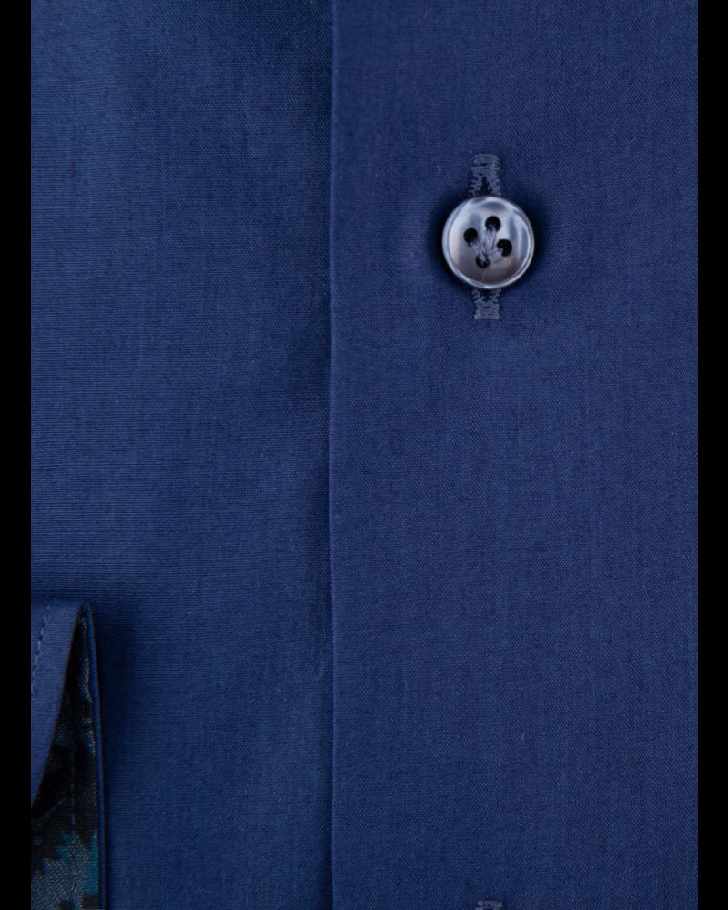 XOOS Men's Gypsy blue dress shirt navy jacquard lining (Organic cotton)