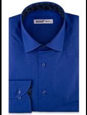 XOOS Men's Electric blue dress shirt navy jacquard lining (Organic cotton)