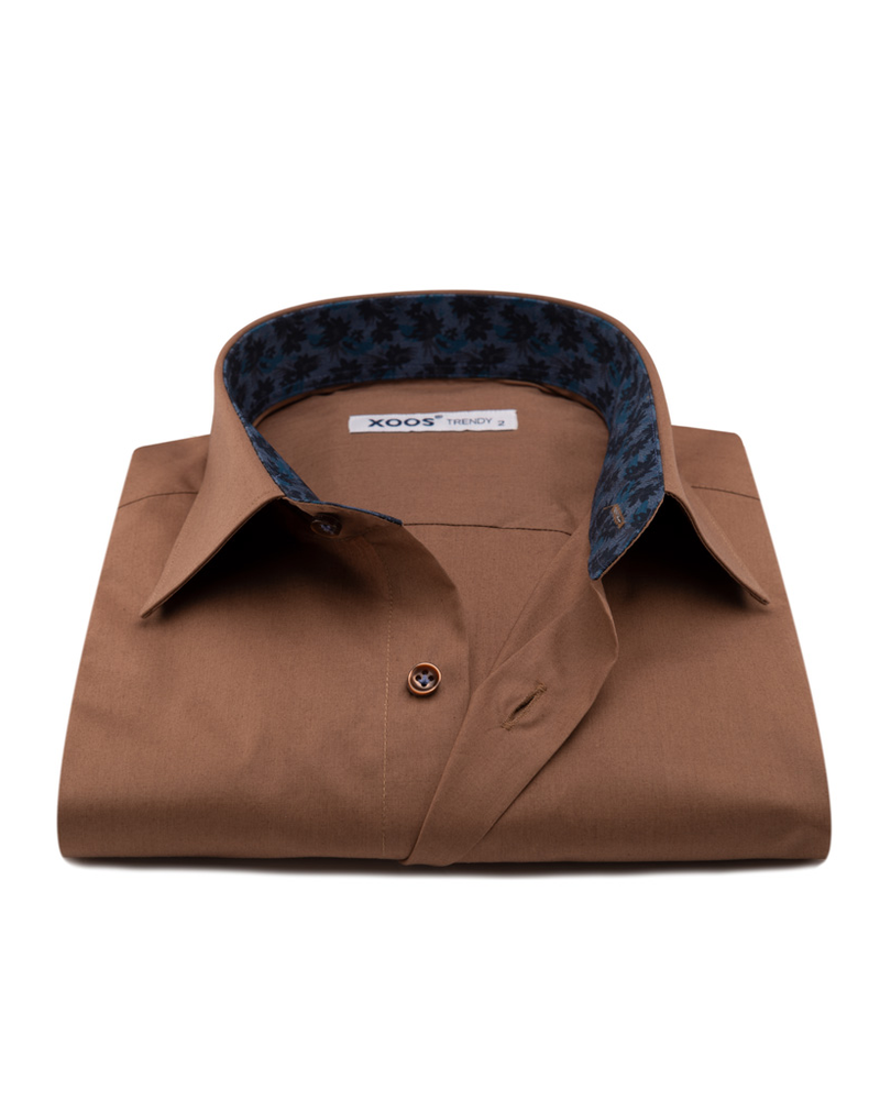 XOOS Men's Brown dress shirt navy jacquard lining (Organic cotton)