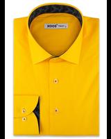 XOOS Chemise homme jaune poussin doublure jacquard navy (Coton Biologique)