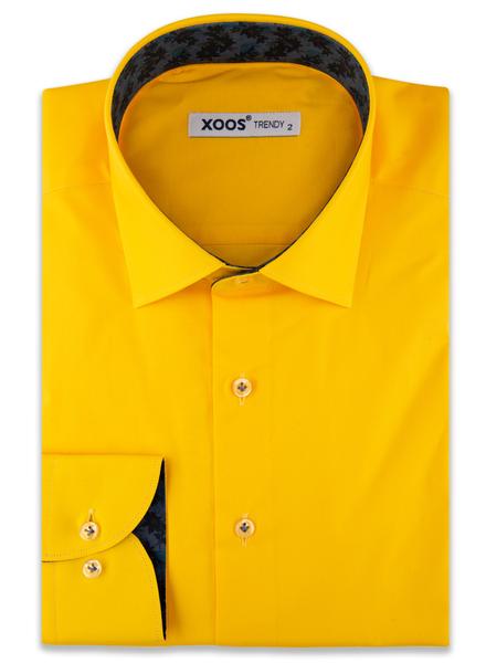 XOOS Men's Yellow dress shirt navy jacquard lining (Organic cotton)