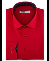 XOOS Chemise homme rouge doublure jacquard navy (Coton Biologique)