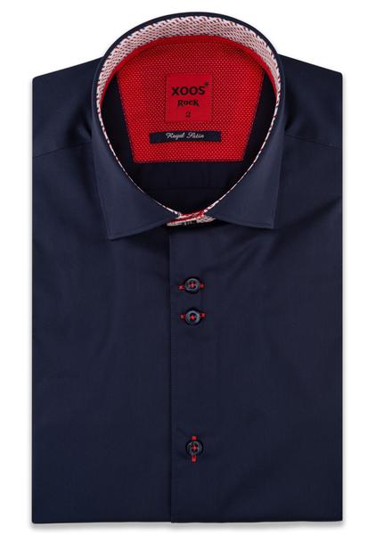 XOOS Men's navy blue short sleeve shirt patterned lining