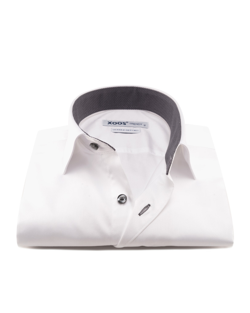 XOOS Men's white dress shirt and gray polka dots lining (Double Twisted)