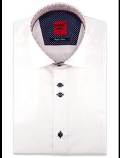 XOOS Men's navy blue short sleeve shirt lightblue patterned lining