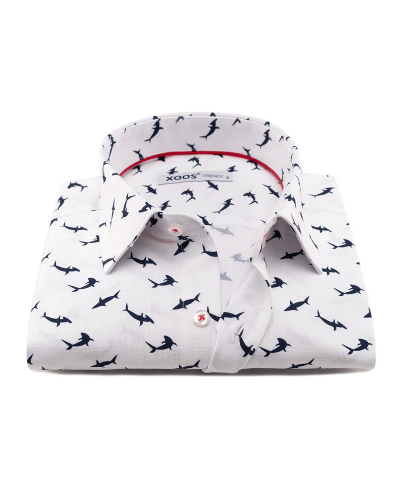 XOOS Men's fitted dress shirt with shark prints