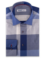XOOS Men's checkered navy dress shirt