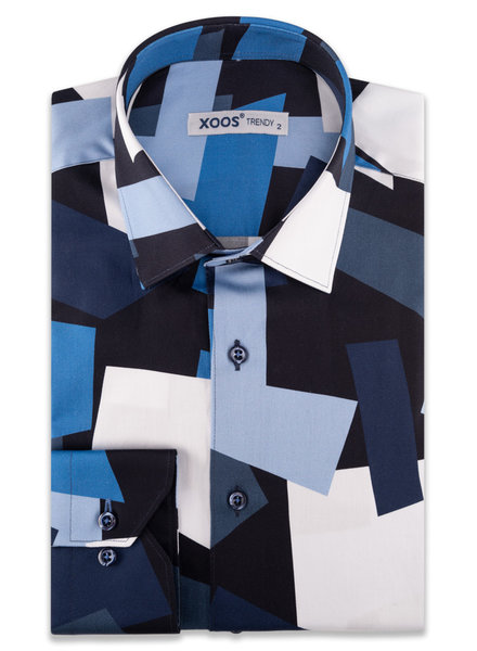 XOOS Chemise homme imprimé patchwork bleu