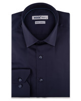 XOOS Men's navy fitted dress shirt and blue braid