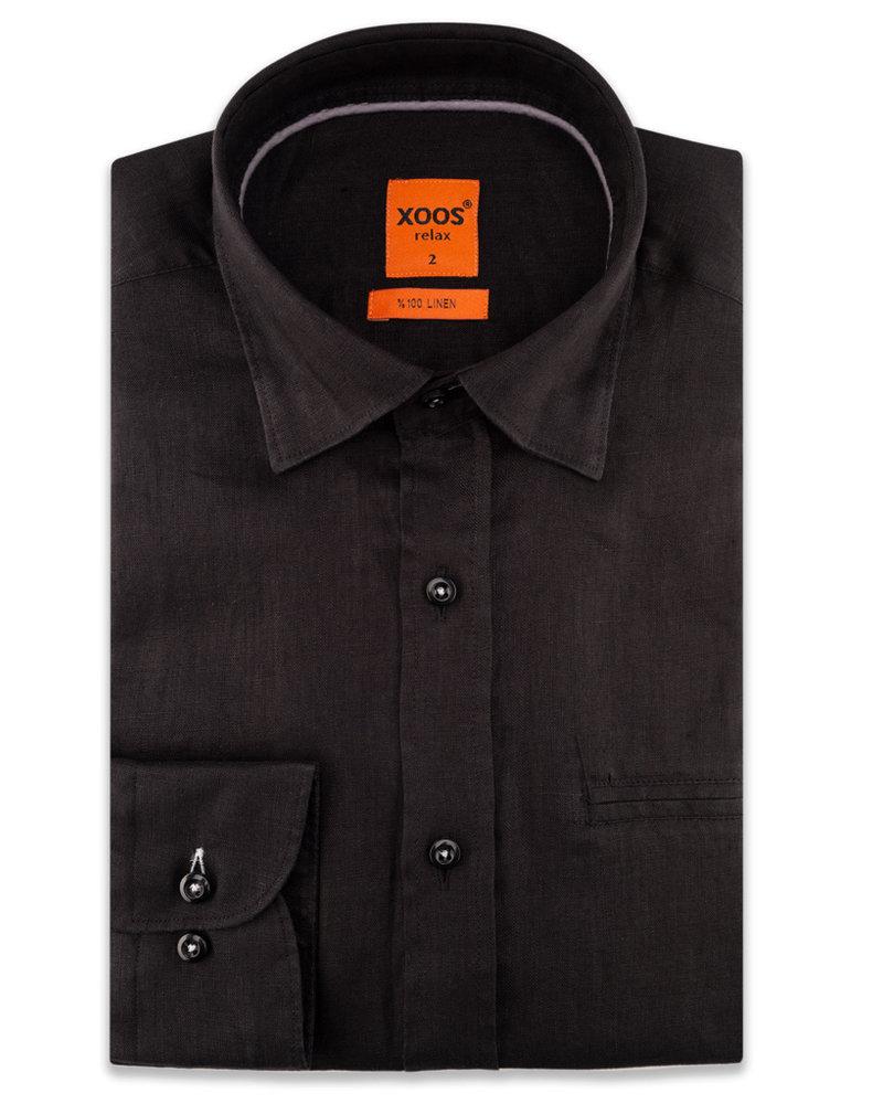 XOOS Men's linen black dress shirt and gray braid