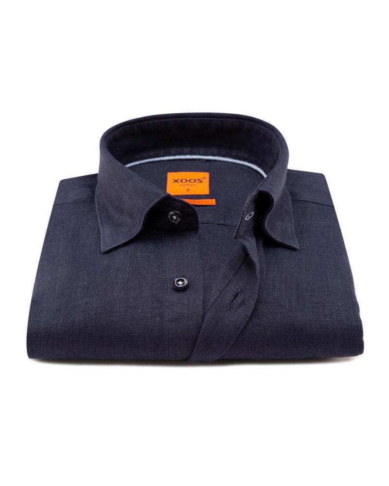 XOOS Men's linen navy dress shirt and blue braid